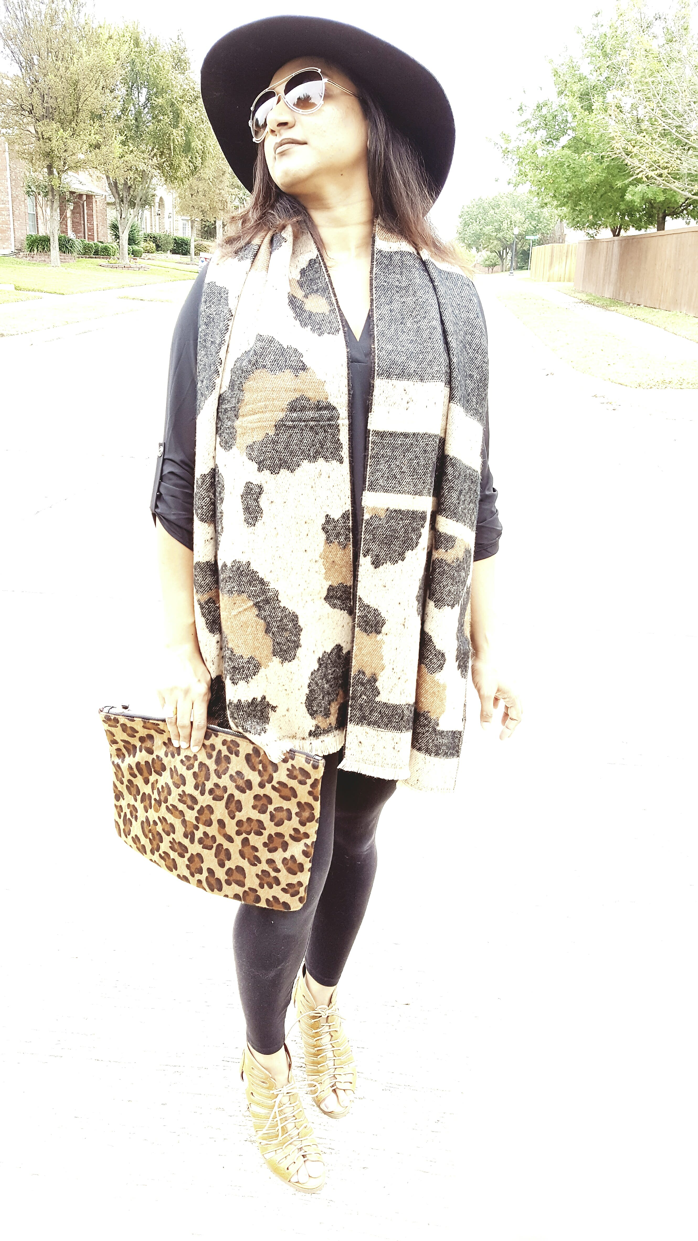 Black Outfit And Leopard Accessories Fashion Beauty Decor